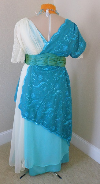 Reproduction 1910s Evening Dress Back - Blue Asymmetrical. Laughing Moon #104