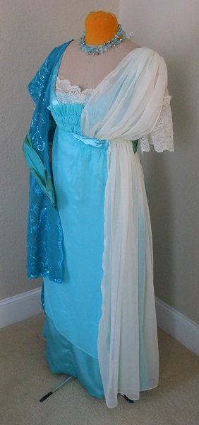 Reproduction 1910s Evening Dress Closures - Blue Asymmetrical. Laughing Moon #104