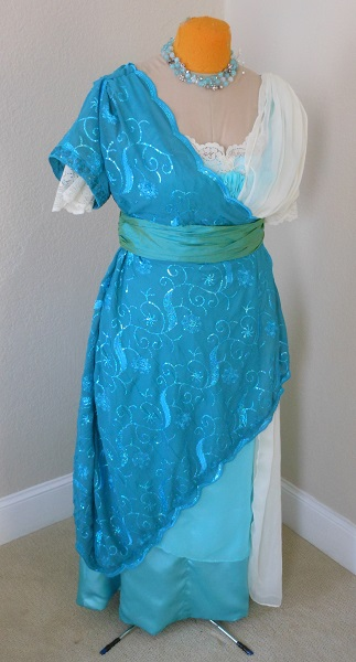 Reproduction 1910s Evening Dress Front - Blue Asymmetrical. Laughing Moon #104