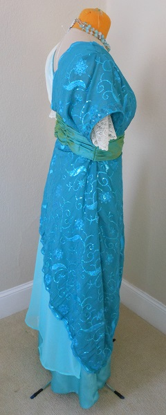 Reproduction 1910s Evening Dress Right - Blue Asymmetrical. Laughing Moon #104