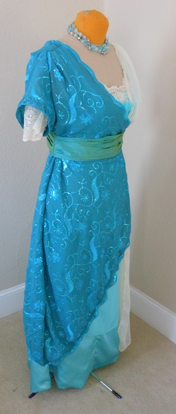 Reproduction 1910s Evening Dress Right Quarter View - Blue Asymmetrical. Laughing Moon #104