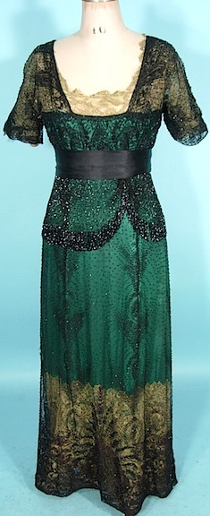 Extant 1910s Evening Dress - Green with ivory lace and black beaded overlay. Inspiration.