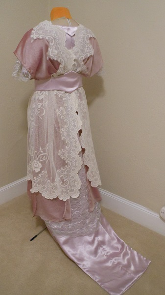 Reproduction 1910s Evening Dress Back Left - Lavender and Lace. Laughing Moon #104