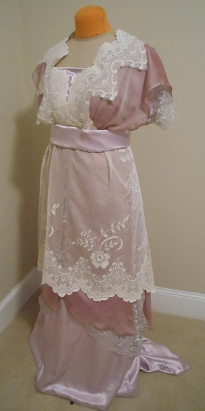 Reproduction 1910s Evening Dress Left Quarter View - Lavender and Lace. Laughing Moon #104