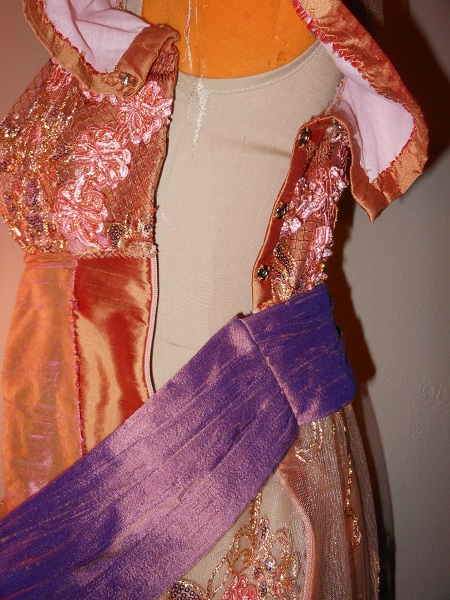 Reproduction 1910s Evening Dress Closures - Orange Silk. Laughing Moon #104