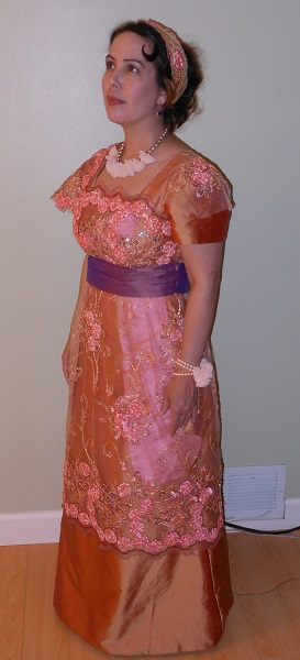 Reproduction 1910s Evening Dress Left Quarter View - Orange Silk. Laughing Moon #104