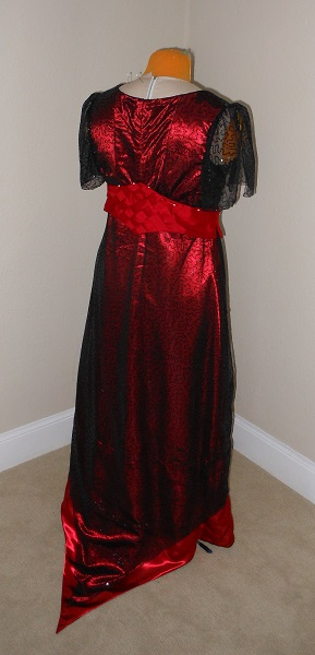 Reproduction 1910s Evening Dress Back Right - Red and Black. Laughing Moon #104