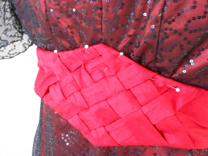 Reproduction 1910s Evening Dress - Red and Black. Belt Detail.
