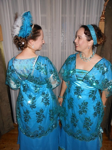 1910s reproduction evening dress blue twins