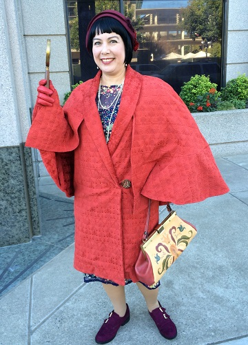 1920s Reproduction Red Orange Coat with Capelet