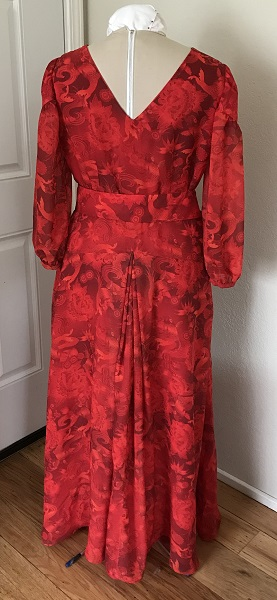 1927 Reproduction Red Koi Dress Back.