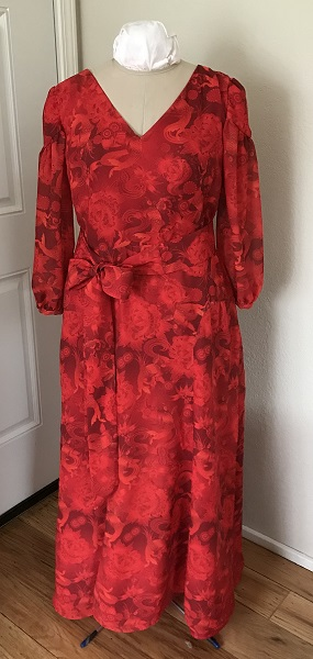 1927 Reproduction Red Koi Dress Front.