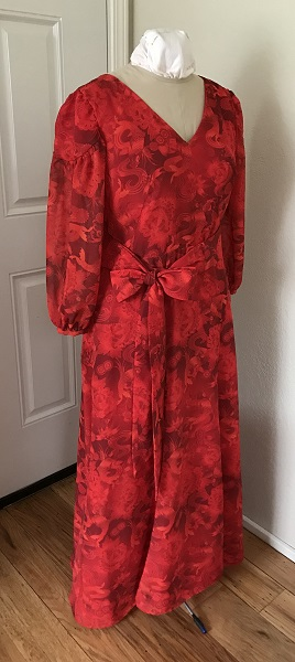 1927 Reproduction Red Koi Dress  Right Quarter View.