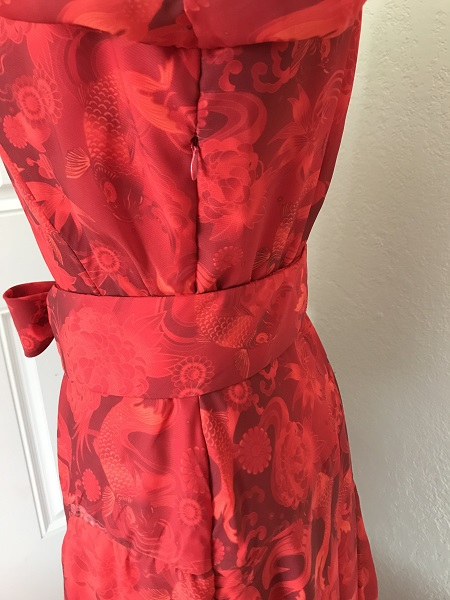 1927 Reproduction Red Koi Dress Zipper Detail