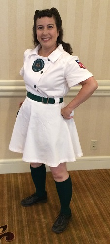 1940s reproduction women's baseball uniform Kenosha Comets Home