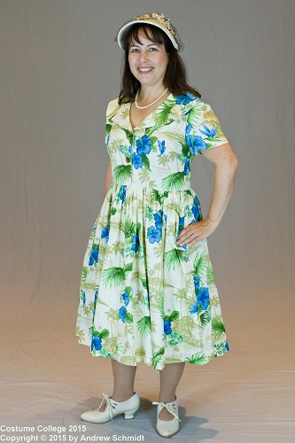 1950s reproduction retro Blue Hawaiian dress. Photographer: Andrew Schmidt