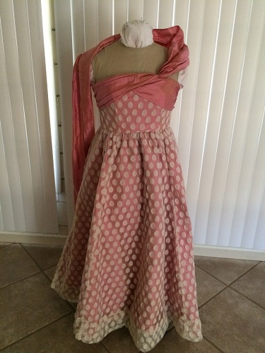 1952 reproduction retro Butterick 4918 pink silk evening dress with ivory spotted dotted net  Front