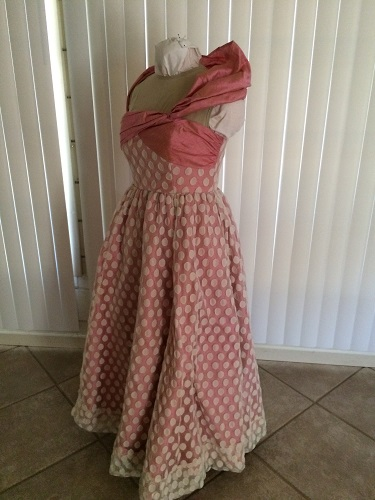 1952 reproduction retro Butterick 4918 pink silk evening dress with ivory spotted dotted net  Left 3/4 View