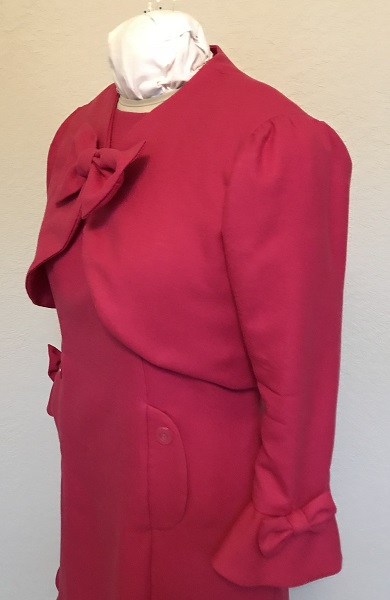 Dolores Umbridge Hot Pink Shrug 1960s Style Quarter View.
