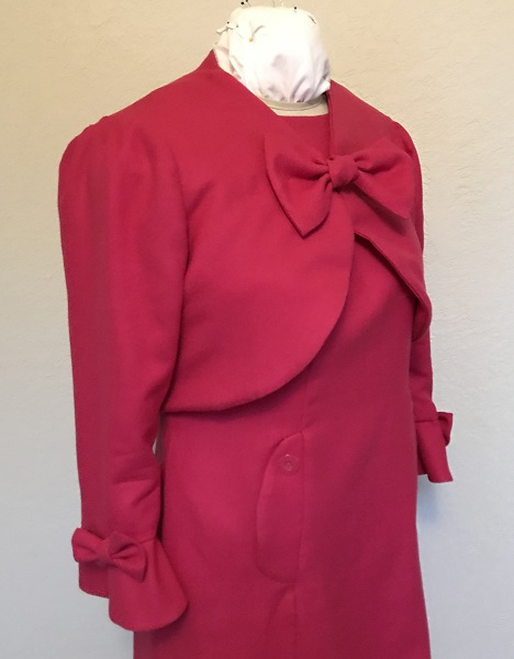 Dolores Umbridge Hot Pink Shrug 1960s Style  Right Quarter View.