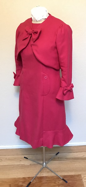 Dolores Umbridge Hot Pink Dress 1960s Style Quarter View.