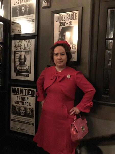 Dolores Umbridge Hot Pink Dress 1960s Style. At Harry Potter's Wizarding World January 2019