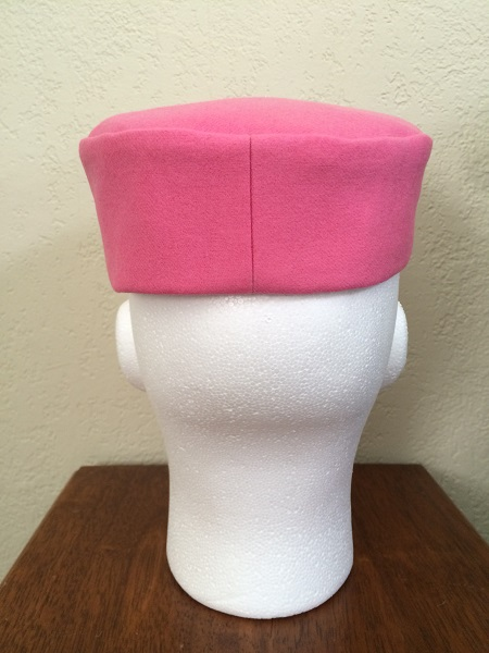 Reproduction Pink Wool Pillbox Hat Back.