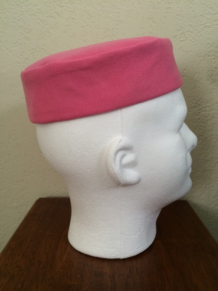 Reproduction Pink Wool Pillbox Hat Right.