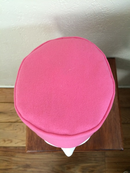 Reproduction Pink Wool Pillbox Hat Top.