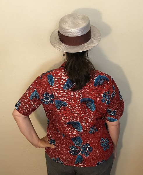 Butterick 6085 Misses' Red with Blue Porcupine Print Shirt Back