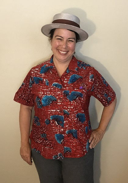 Butterick 6085 Misses' Red with Blue Porcupine Print Shirt  Front