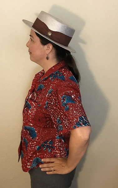 Butterick 6085 Misses' Red with Blue Porcupine Print Shirt Left