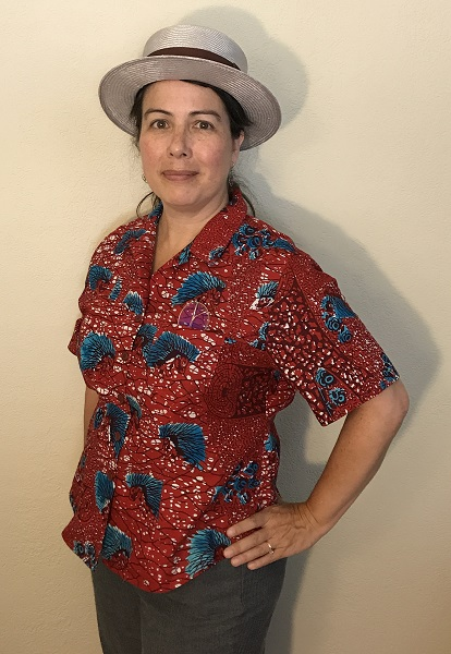 Butterick 6085 Misses'Red with Blue Porcupine Print Shirt Left 3/4 View