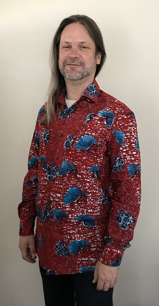 2010s Men's Red with Blue Porcupine Print Tailored Shirt Vogue V9220