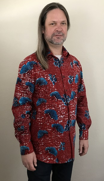 2010s Men's Red with Blue Porcupine Patterned Shirt Vogue V9220 Right 3/4 View