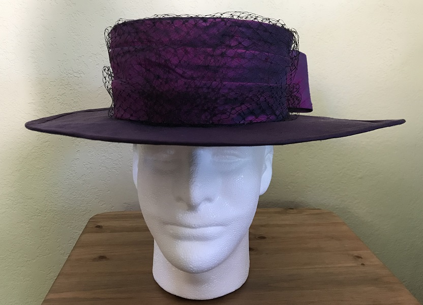 Reproduction Edwardian Purple Hat Butterick B6397 View C Front.