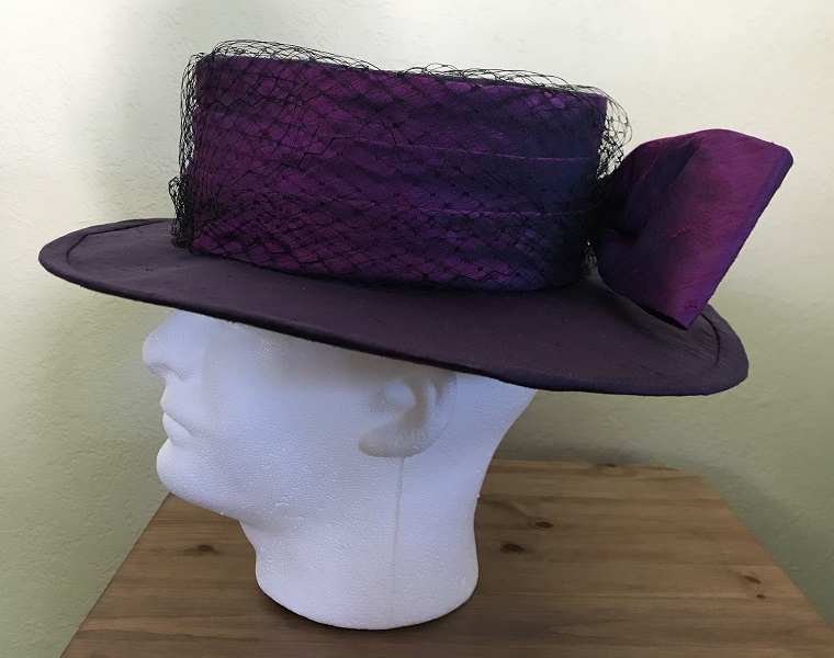 Reproduction Edwardian Purple Hat Butterick B6397 View C Left.