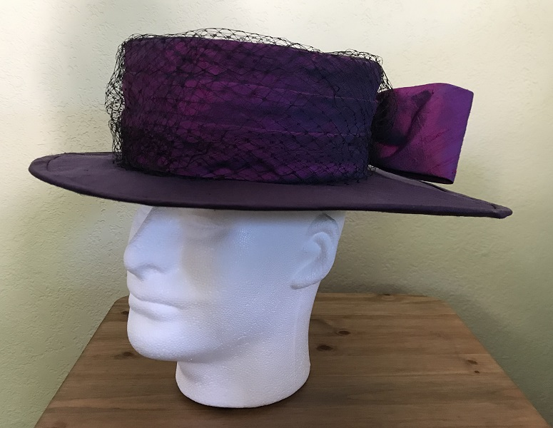 Reproduction Edwardian Purple Hat Butterick B6397 View C Left Quarter View.