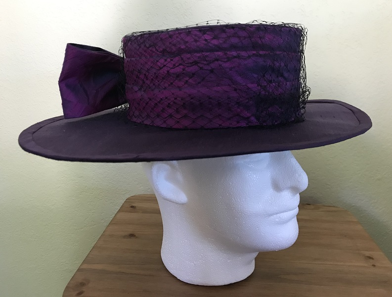 Reproduction Edwardian Purple Hat Butterick B6397 View C Right Quarter View