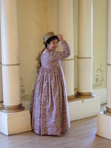 1790s Open Robe over Round Gown at Grand Island Mansion February 2020.