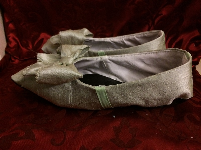 Reproduction Regency Ice Green Dance Slippers Left
