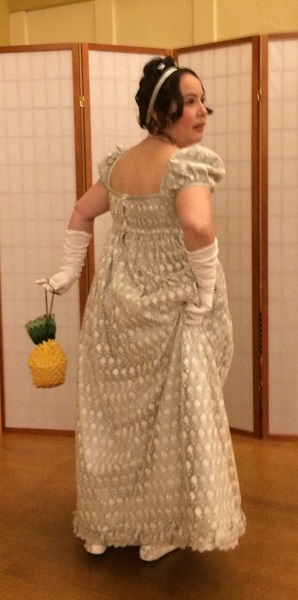 Reproduction Regency Ice Green Evening Dress with knitted pineapple reticule. Winter Dreams 2017.