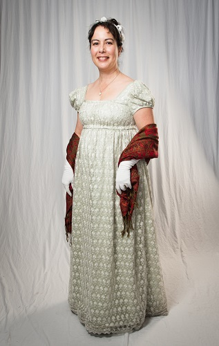 Reproduction Regency Ice Green Evening Dress. Butterick B6074 View B. Photograph by Nicholas Burlett.