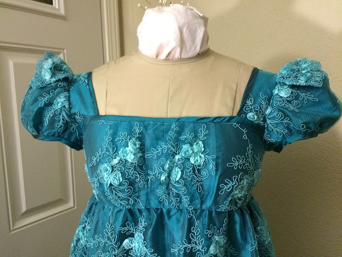 Reproduction Regency Peacock Teal Evening Dress Bodice Detail.