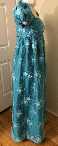 Reproduction Regency Peacock Teal Evening Dress Right. Butterick B6074 View B