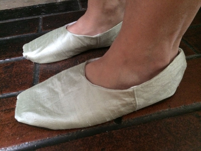 Reproduction Regency Slippers. Too big - side.