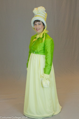 Reproduction Regency Yellow Dress Left Quarter View. Photo by Andrew Schmidt.