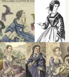 Examples of square neck bodices in fashion plates