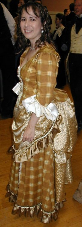 gold plaid bustle dress