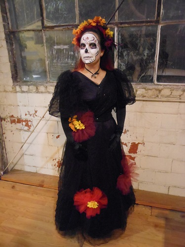 1890s Reproduction Black Tulle Ball Gown Dress. Day of the Dead.